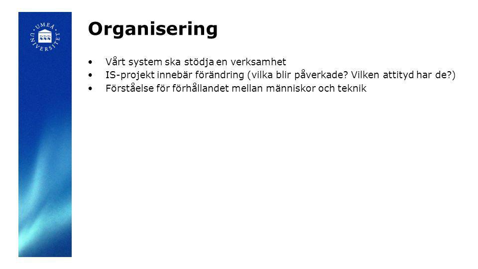 Organisering Vårt system ska stödja en verksamhet