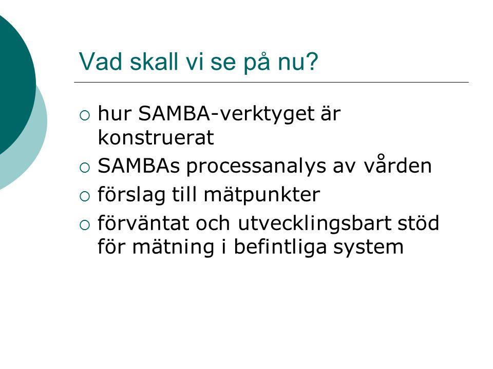 Vad skall vi se på nu hur SAMBA-verktyget är konstruerat