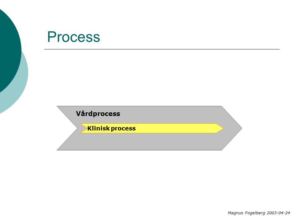 Process Vårdprocess Klinisk process Magnus Fogelberg 2003-04-24