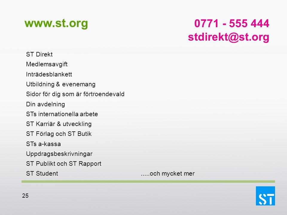 www.st.org 0771 - 555 444 stdirekt@st.org ST Direkt Medlemsavgift