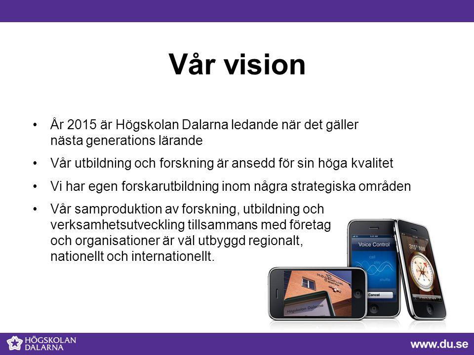 Vår vision År 2015 är Högskolan Dalarna ledande när det gäller nästa generations lärande.