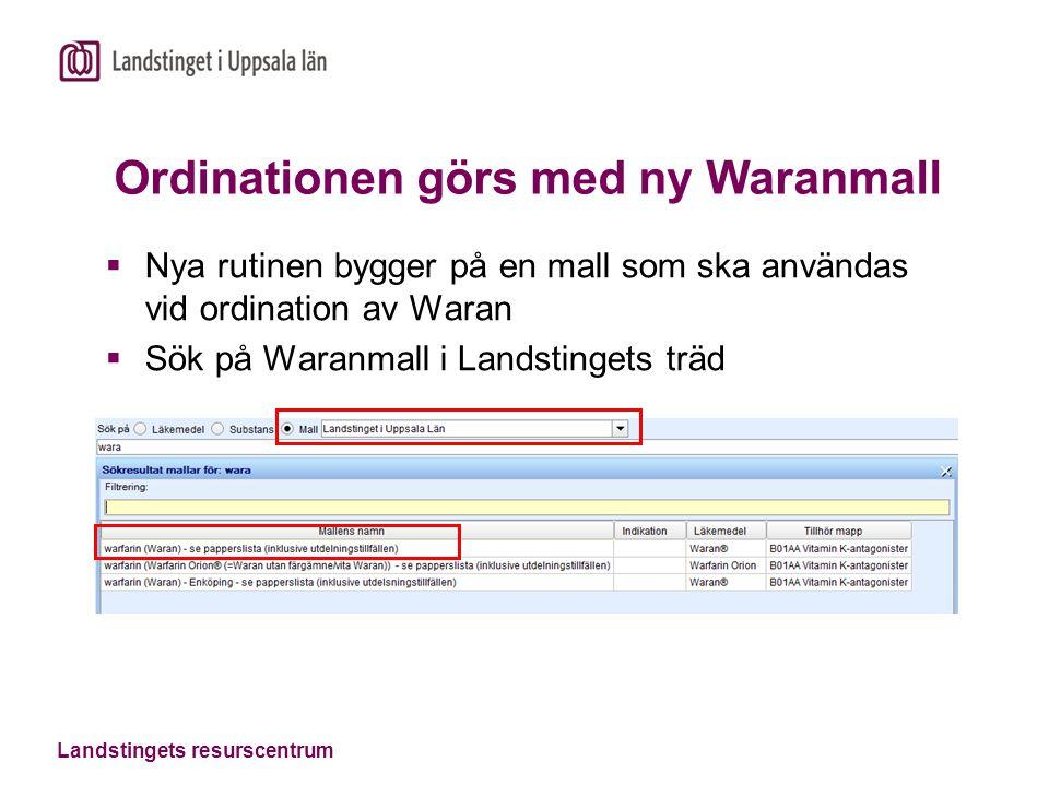 Ordinationen görs med ny Waranmall