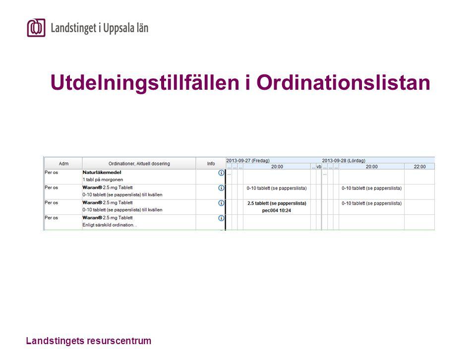 Utdelningstillfällen i Ordinationslistan