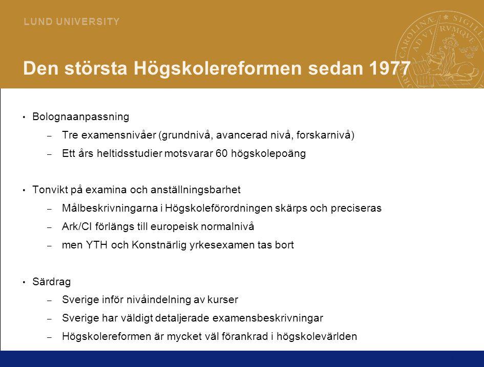Den största Högskolereformen sedan 1977