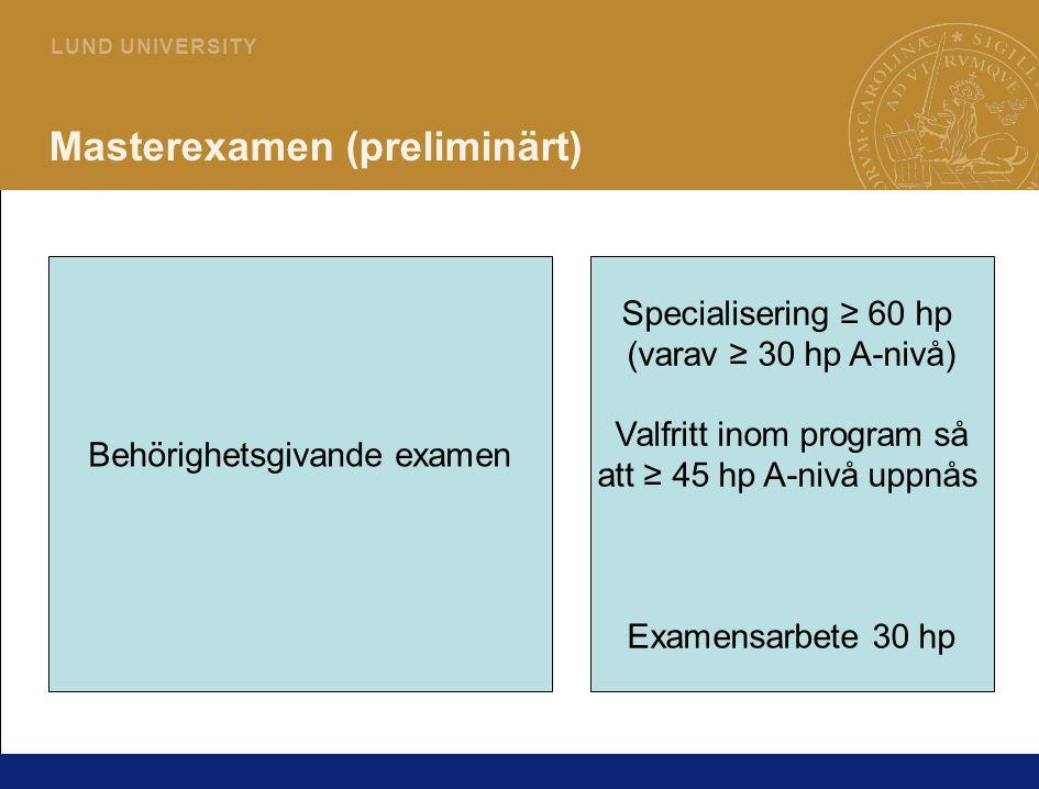Masterexamen (preliminärt)