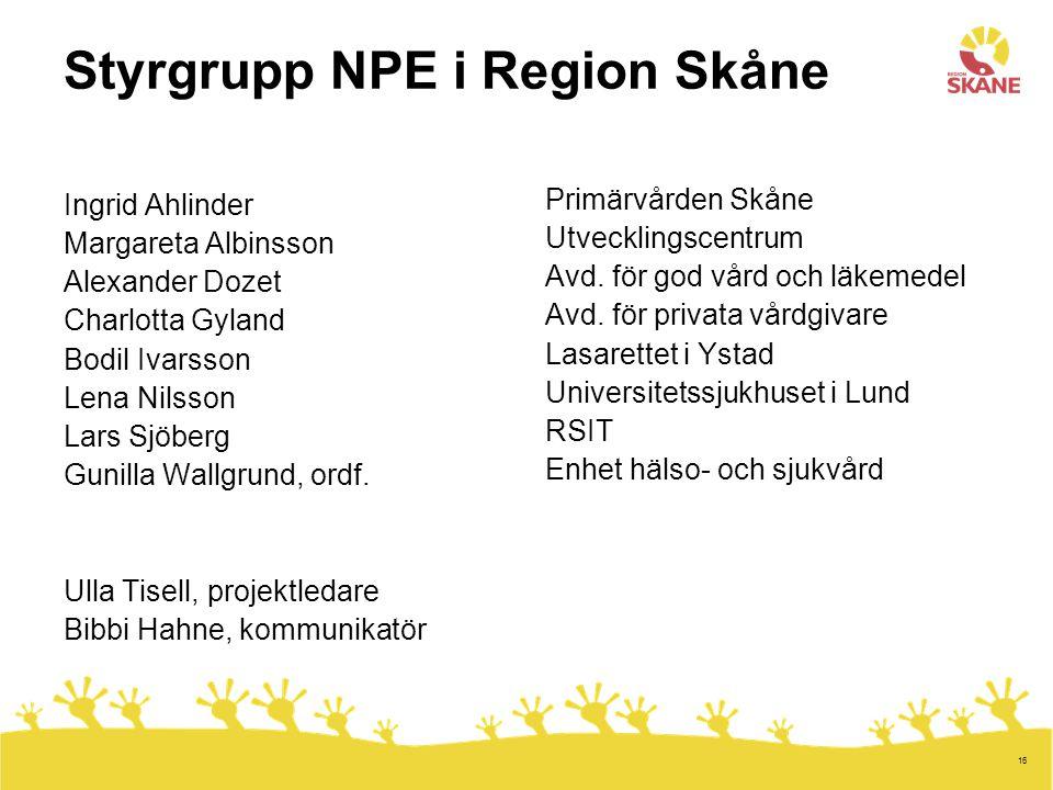 Styrgrupp NPE i Region Skåne