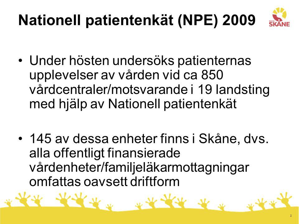 Nationell patientenkät (NPE) 2009