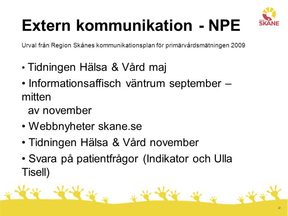 Extern kommunikation - NPE