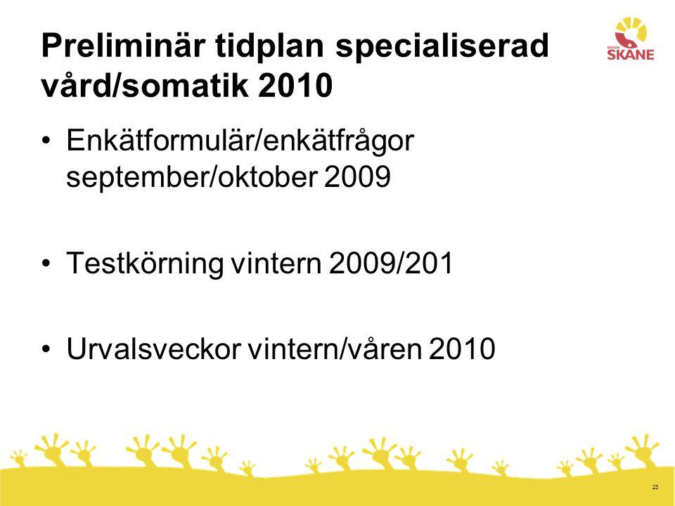 Preliminär tidplan specialiserad vård/somatik 2010