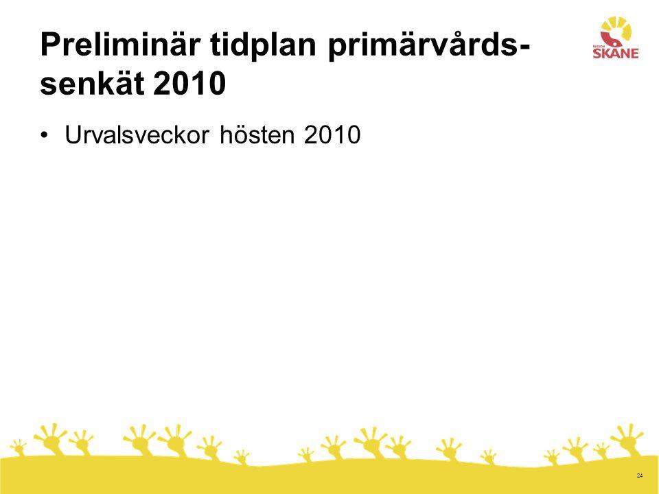 Preliminär tidplan primärvårds- senkät 2010