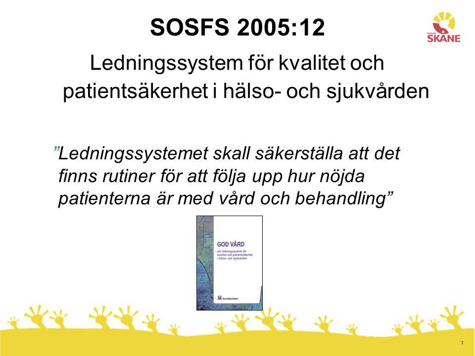 SOSFS 2005:12 Ledningssystem för kvalitet och patientsäkerhet i hälso- och sjukvården.