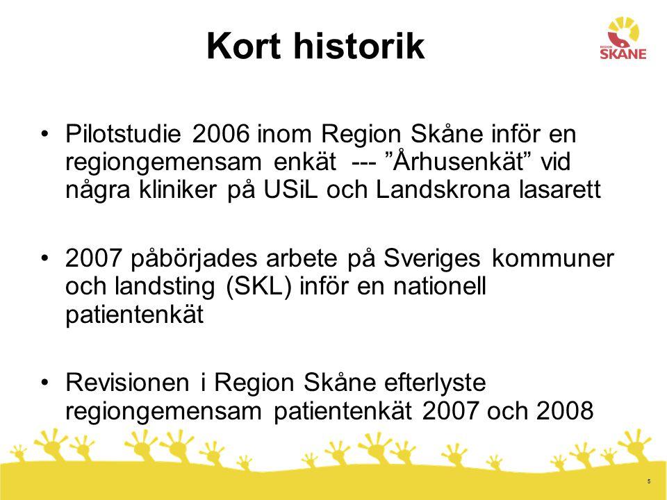 Kort historik Pilotstudie 2006 inom Region Skåne inför en regiongemensam enkät --- Århusenkät vid några kliniker på USiL och Landskrona lasarett.