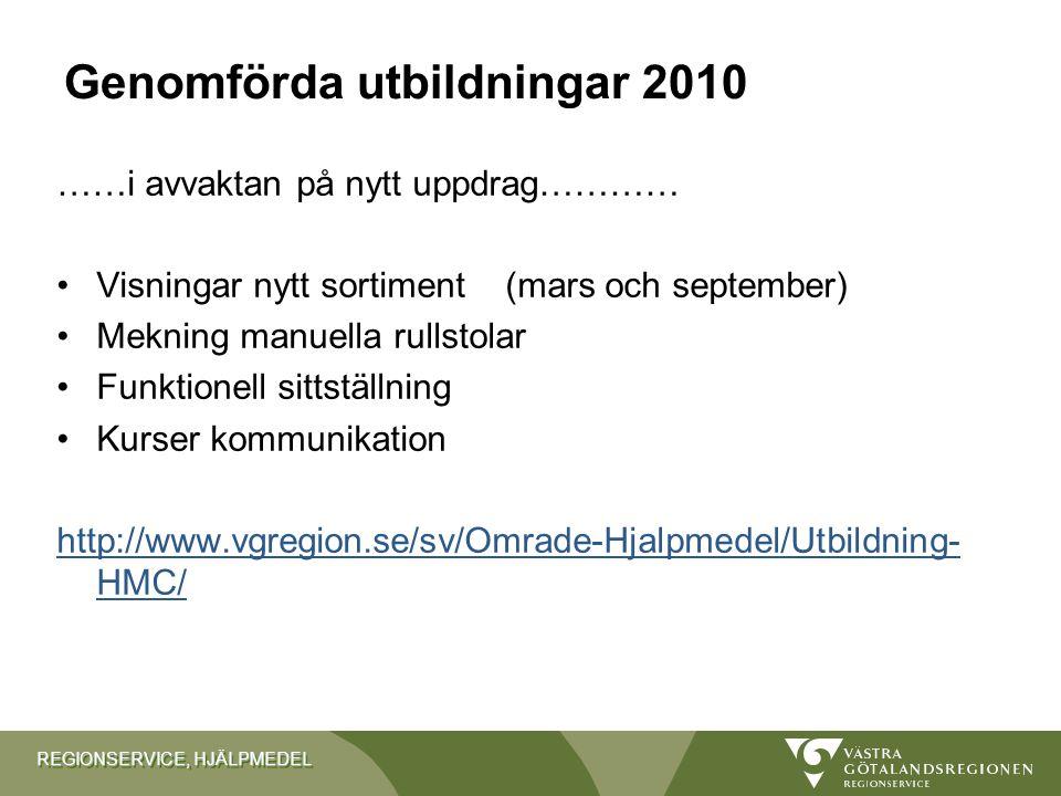Genomförda utbildningar 2010