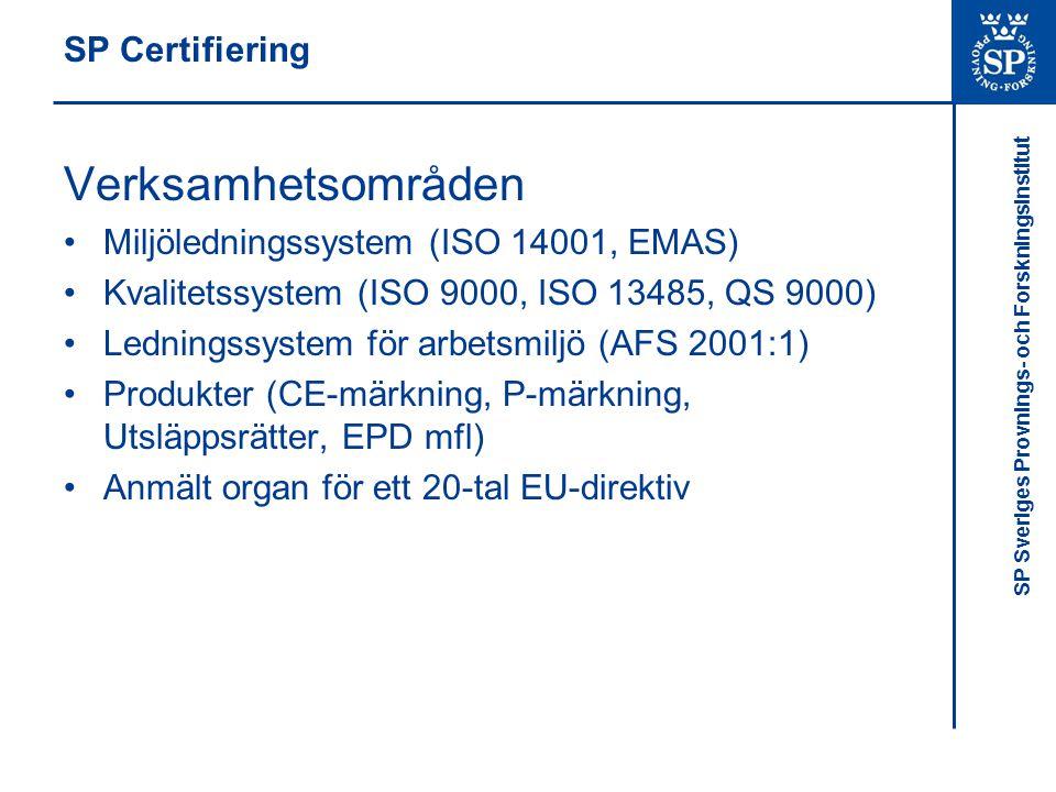 Verksamhetsområden SP Certifiering
