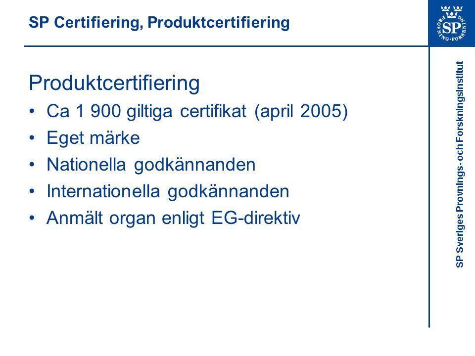 SP Certifiering, Produktcertifiering