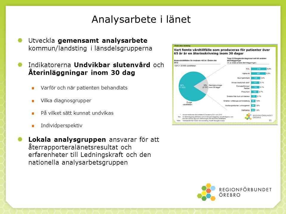 Analysarbete i länet Utveckla gemensamt analysarbete kommun/landsting i länsdelsgrupperna.
