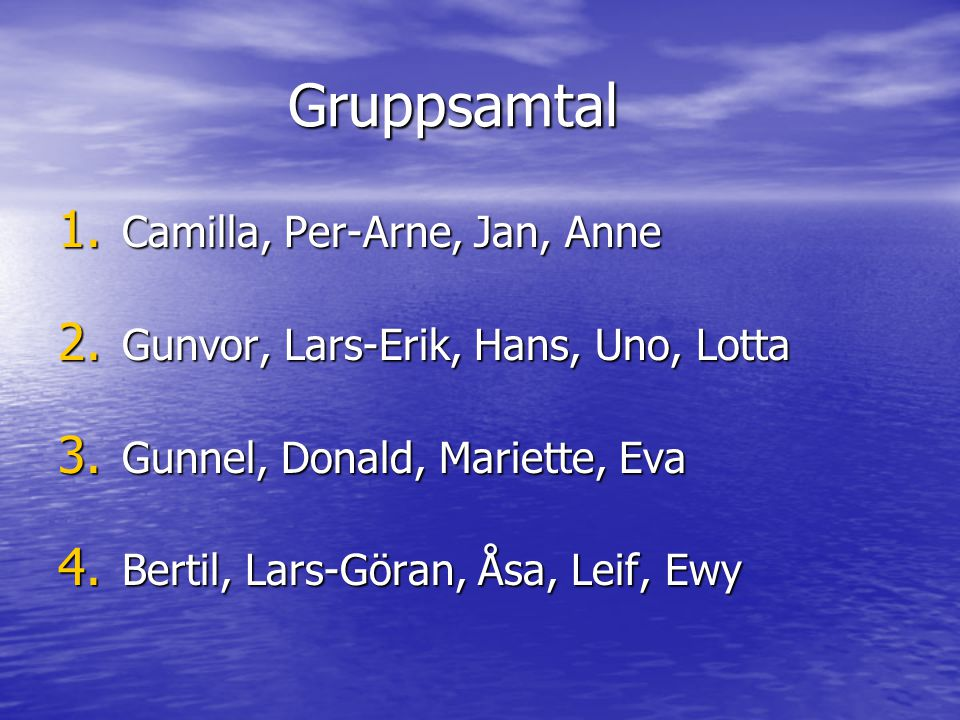 Gruppsamtal Camilla, Per-Arne, Jan, Anne