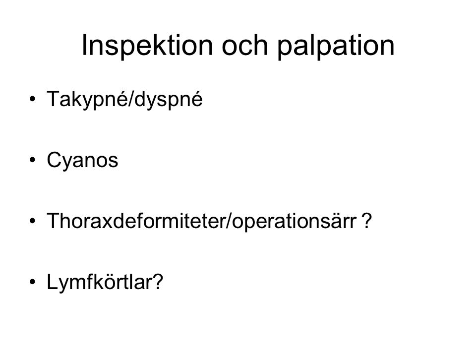 Inspektion och palpation