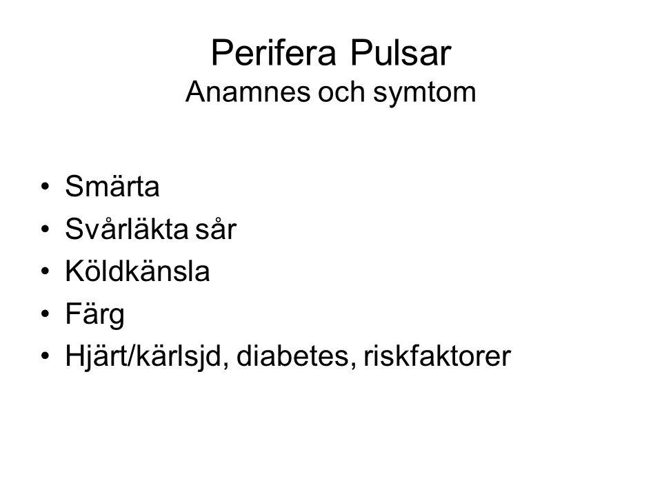 Perifera Pulsar Anamnes och symtom