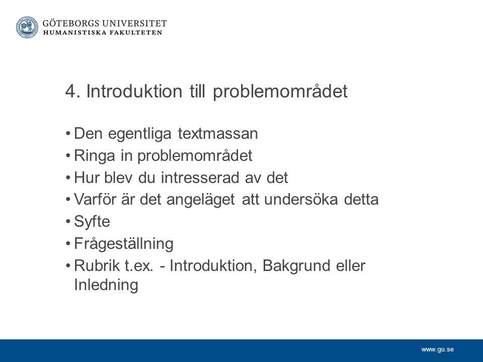 4. Introduktion till problemområdet