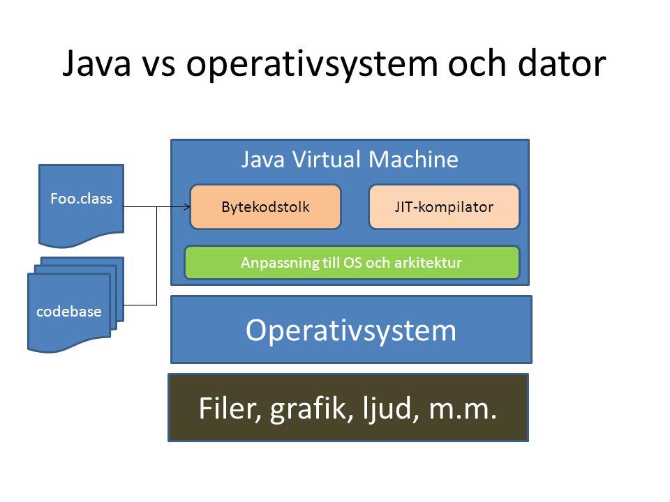 Java vs operativsystem och dator