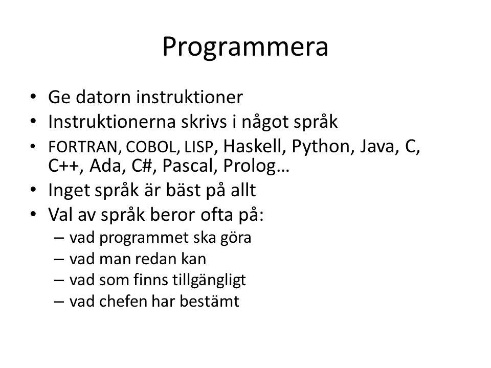 Programmera Ge datorn instruktioner