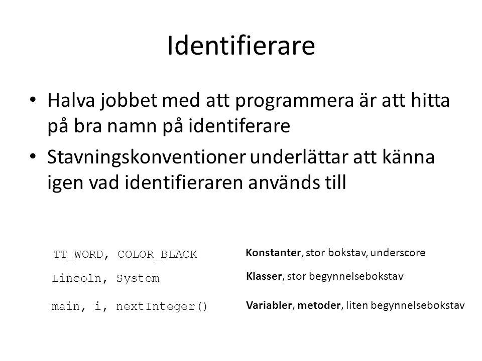 Identifierare Halva jobbet med att programmera är att hitta på bra namn på identiferare.