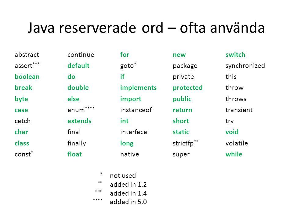 Java reserverade ord – ofta använda