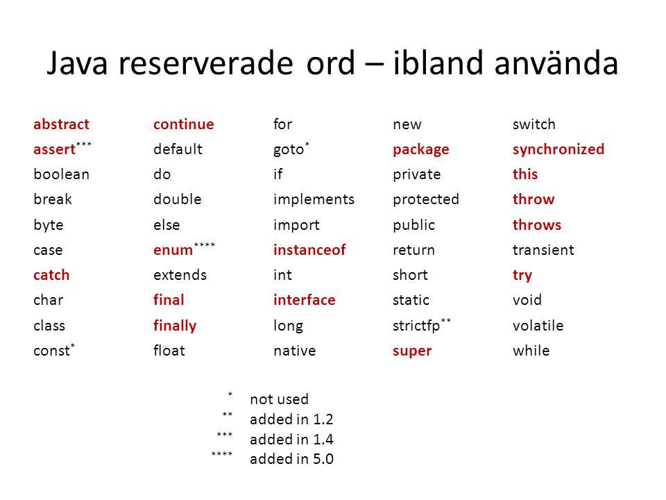 Java reserverade ord – ibland använda