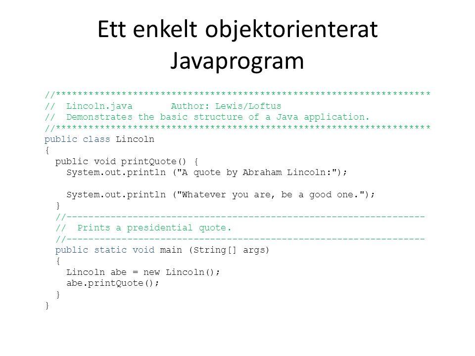 Ett enkelt objektorienterat Javaprogram