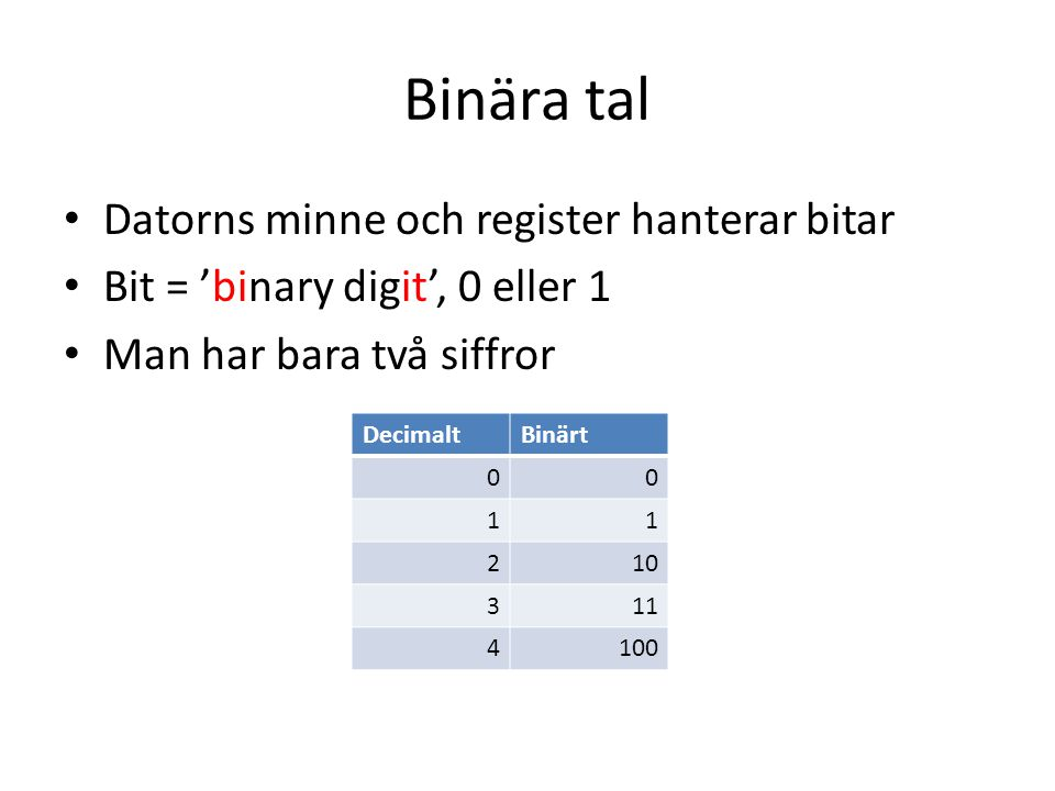 Binära tal Datorns minne och register hanterar bitar