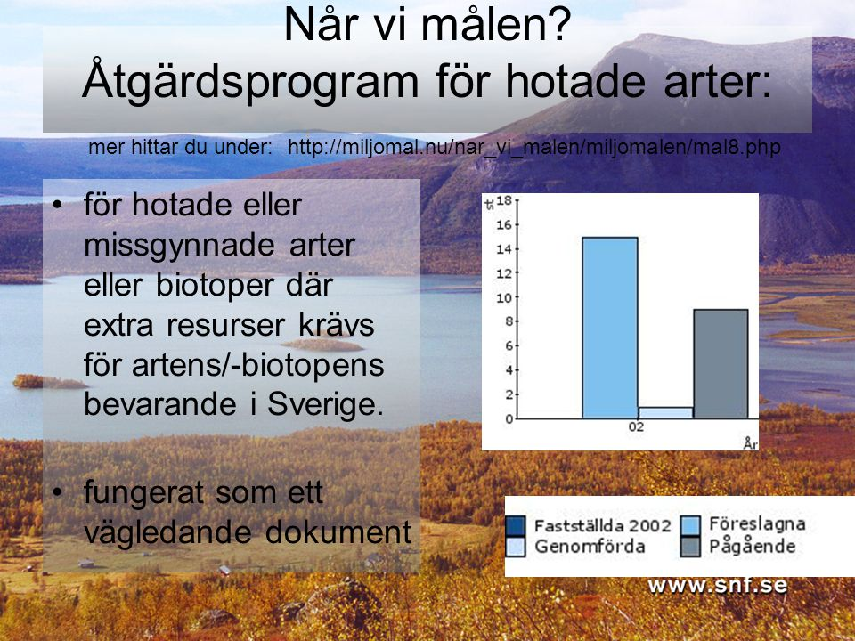 Når vi målen Åtgärdsprogram för hotade arter: mer hittar du under: http://miljomal.nu/nar_vi_malen/miljomalen/mal8.php