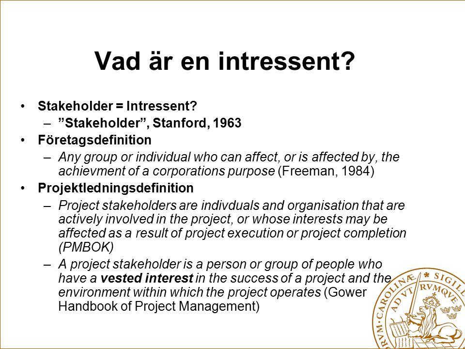 Vad är en intressent Stakeholder = Intressent