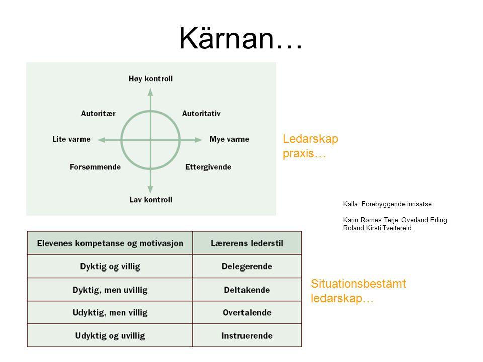 Kärnan… Ledarskap praxis… Situationsbestämt ledarskap…