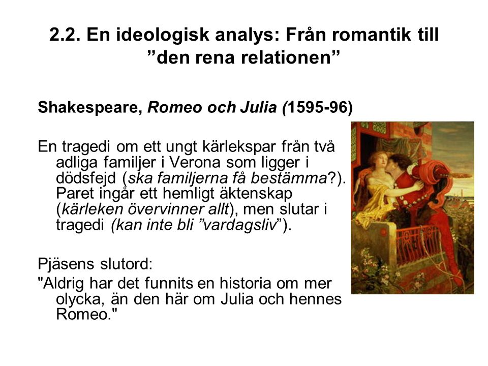 2.2. En ideologisk analys: Från romantik till den rena relationen