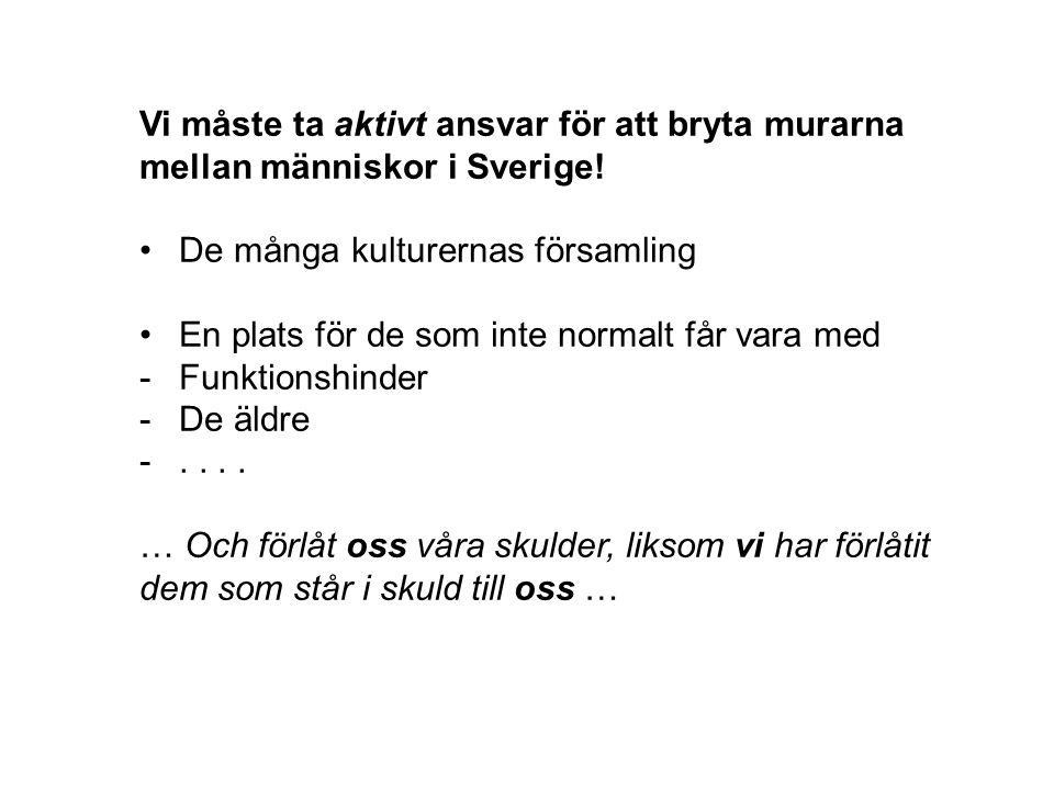 Vi måste ta aktivt ansvar för att bryta murarna mellan människor i Sverige!