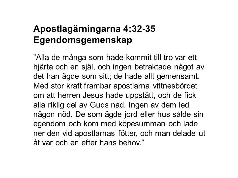 Apostlagärningarna 4:32-35 Egendomsgemenskap