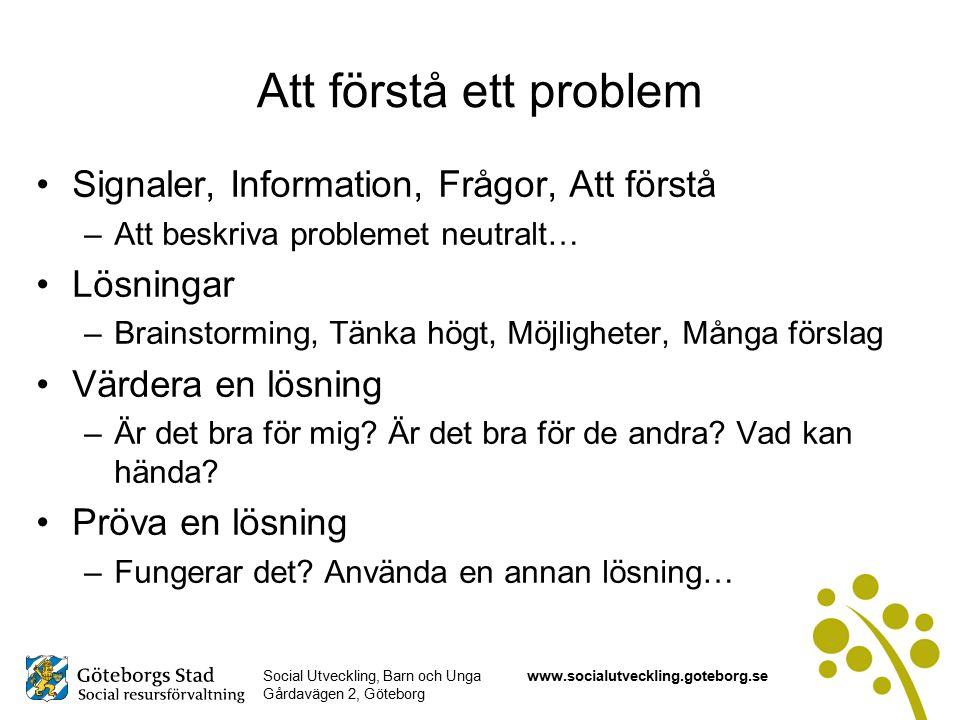 Att förstå ett problem Signaler, Information, Frågor, Att förstå