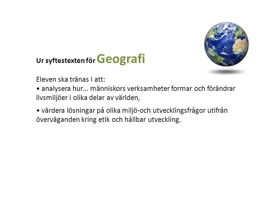 Ur syftestexten för Geografi