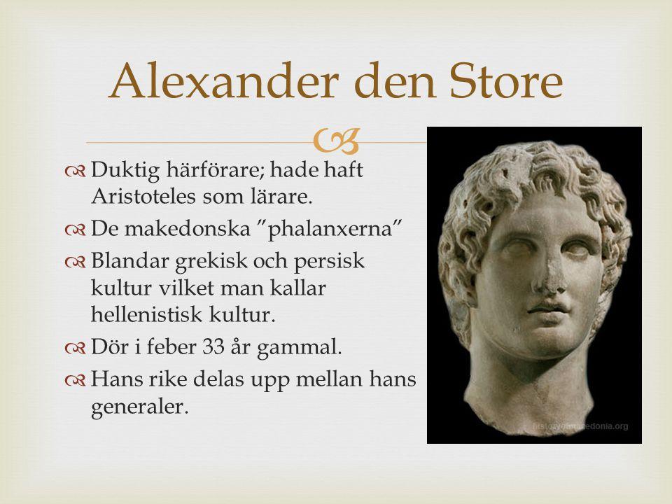 Alexander den Store Duktig härförare; hade haft Aristoteles som lärare. De makedonska phalanxerna