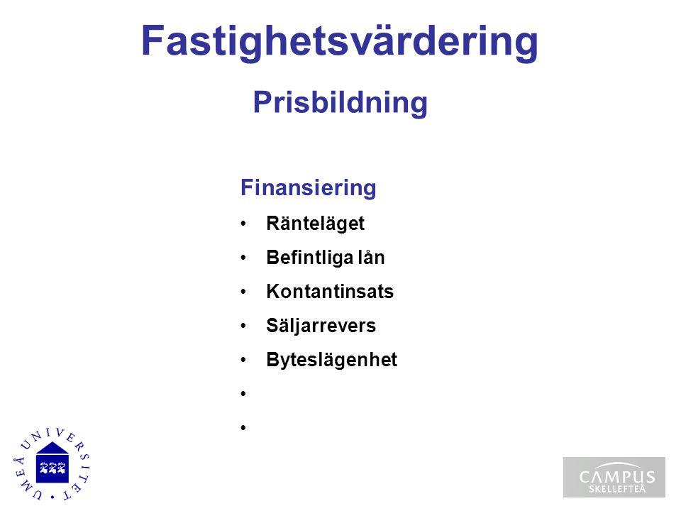 Fastighetsvärdering Prisbildning Finansiering Ränteläget
