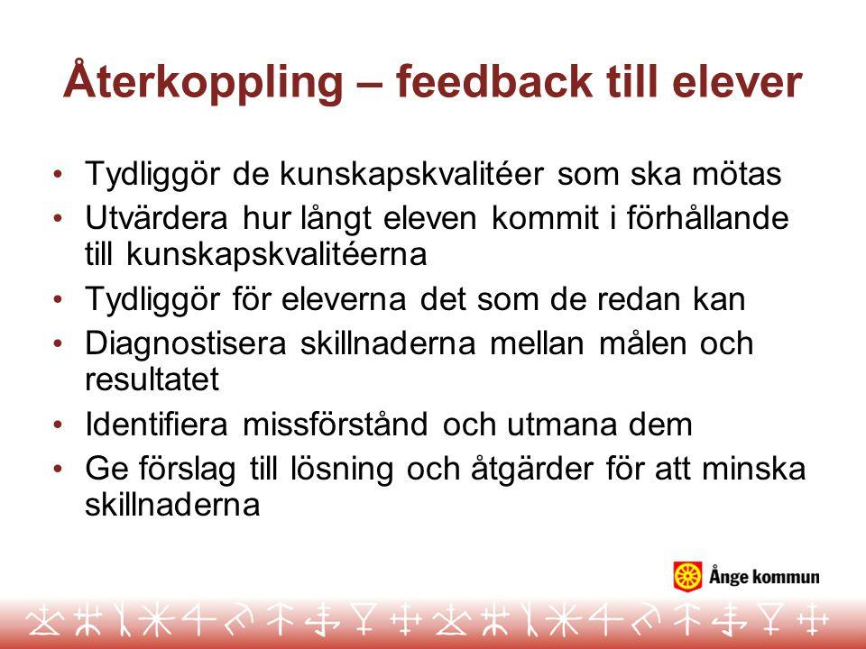 Återkoppling – feedback till elever