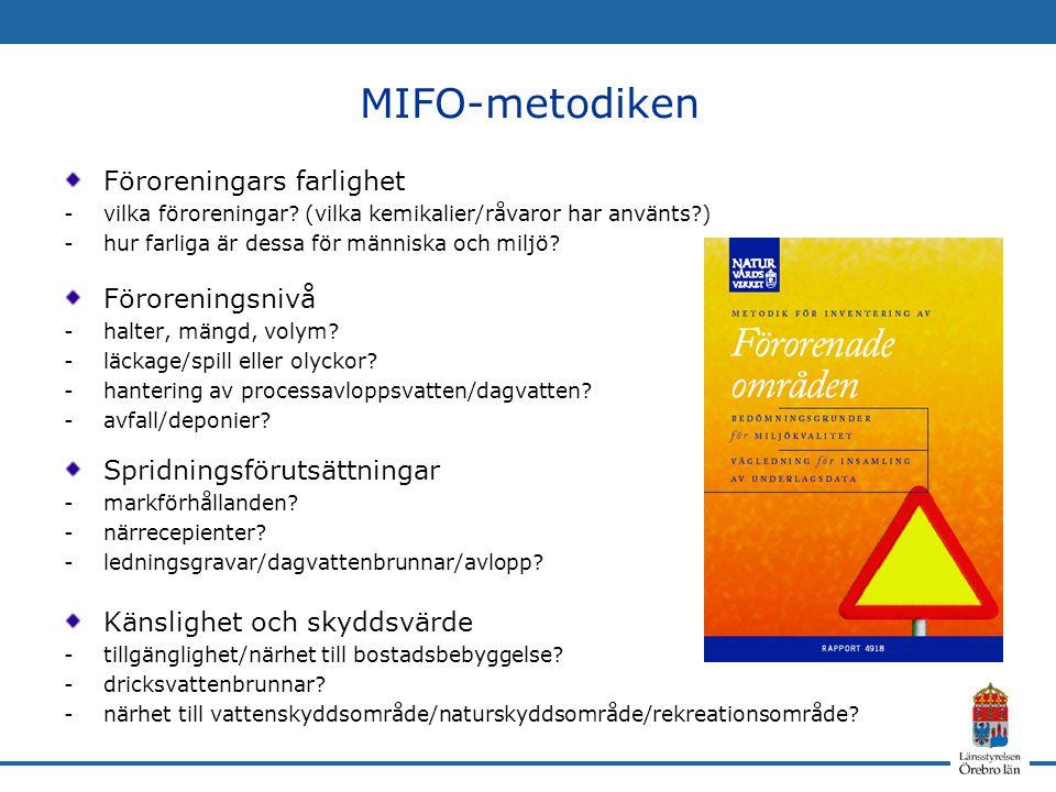 MIFO-metodiken Föroreningars farlighet Föroreningsnivå