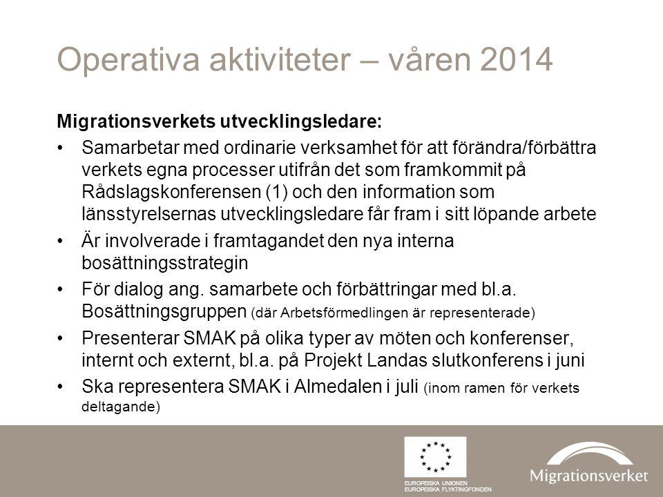 Operativa aktiviteter – våren 2014