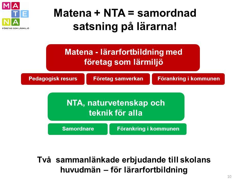 Matena + NTA = samordnad satsning på lärarna!
