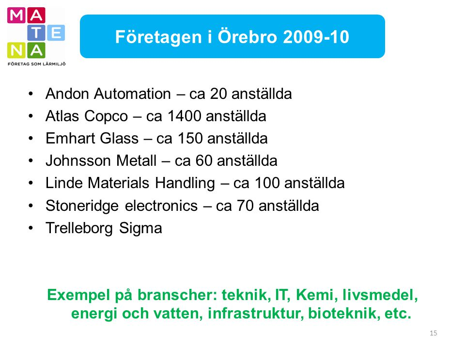 Företagen i Örebro 2009-10 Andon Automation – ca 20 anställda
