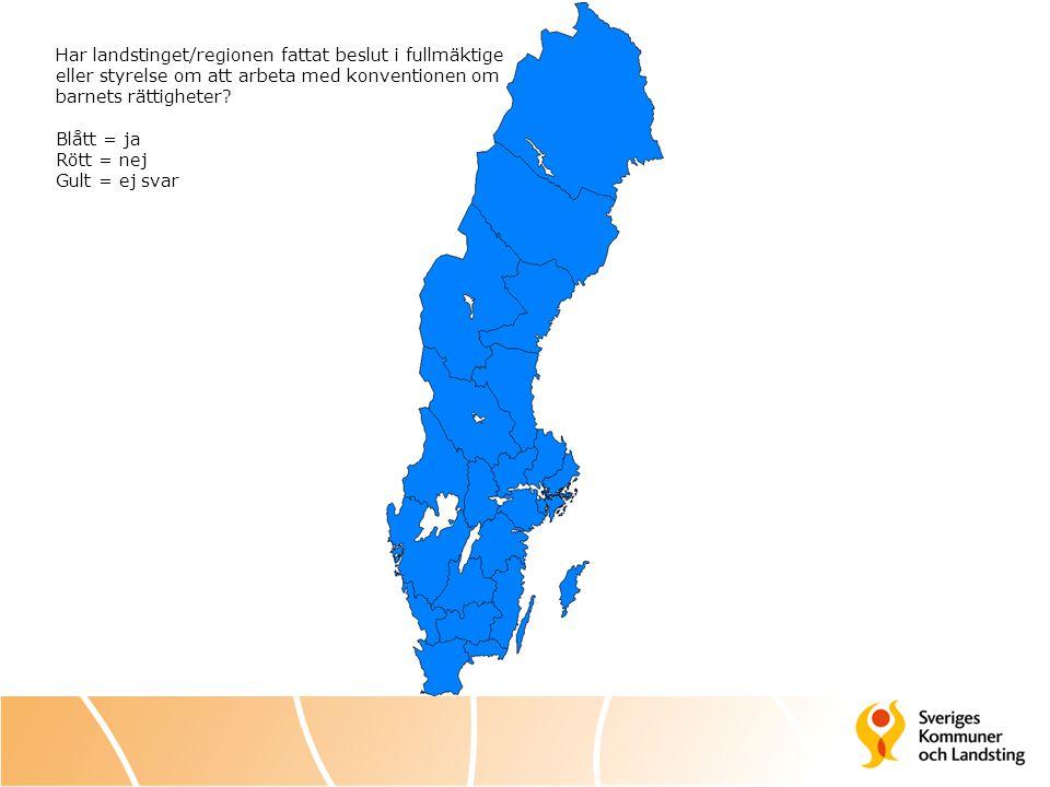 Har landstinget/regionen fattat beslut i fullmäktige eller styrelse om att arbeta med konventionen om barnets rättigheter
