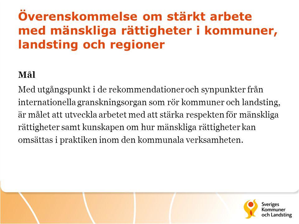 Överenskommelse om stärkt arbete med mänskliga rättigheter i kommuner, landsting och regioner