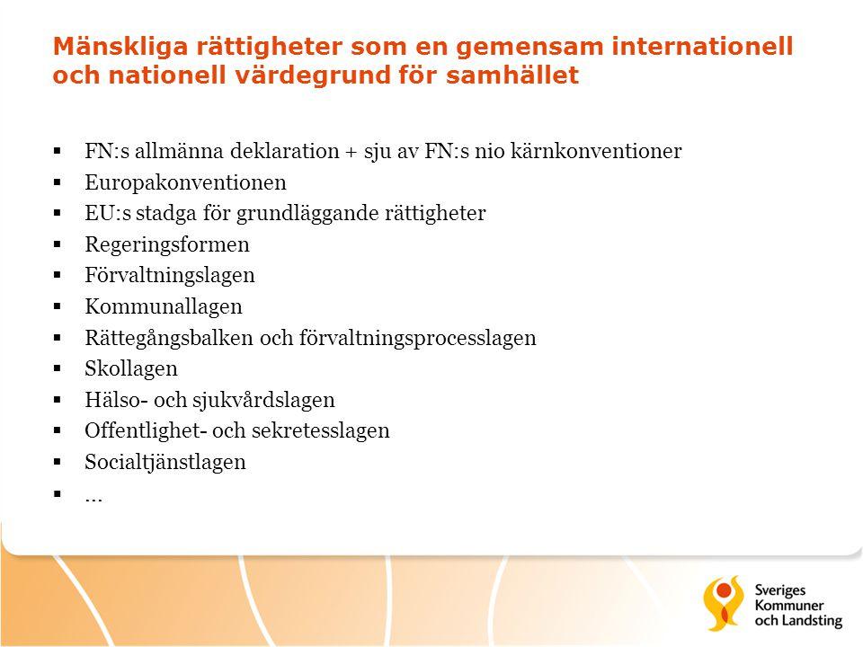 Mänskliga rättigheter som en gemensam internationell och nationell värdegrund för samhället