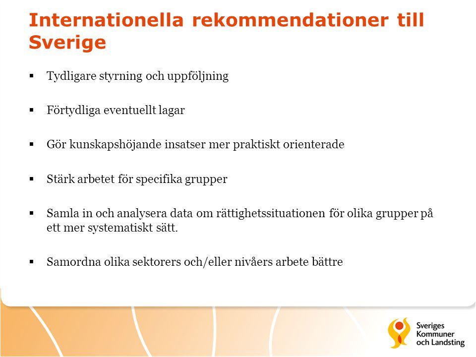 Internationella rekommendationer till Sverige